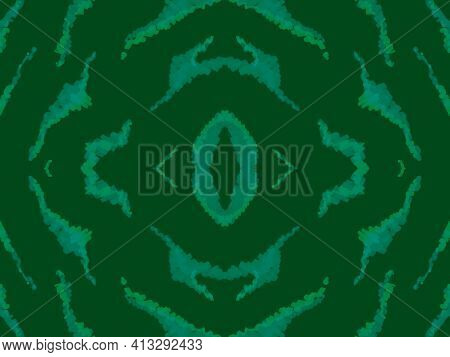 Seamless Ethnic Texture. Animal Leather Design. Watercolor African Ornament. Green Zebra Skin. Zoo W