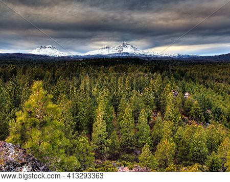 The View Of Three Sisters In The Cascades Mountain Range As Seen From Sisters Oregon