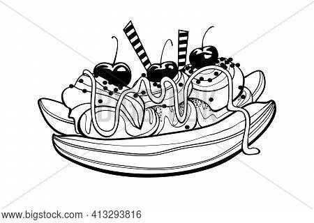 Banana Split Traditional American Dessert. Doodle Vector Illustration On White Background.