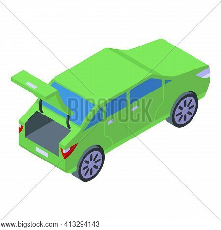 Green Trunk Car Icon. Isometric Of Green Trunk Car Vector Icon For Web Design Isolated On White Back