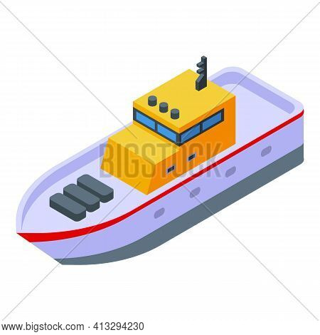 Rescue Ship Icon. Isometric Of Rescue Ship Vector Icon For Web Design Isolated On White Background