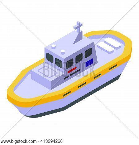 Sea Rescue Ship Icon. Isometric Of Sea Rescue Ship Vector Icon For Web Design Isolated On White Back