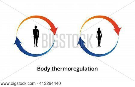 Body Thermoregulation Icon. Body Heat Retention. Human Body Silhouette. Vector Illustration