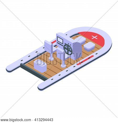 Power Rescue Boat Icon. Isometric Of Power Rescue Boat Vector Icon For Web Design Isolated On White
