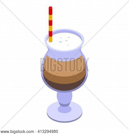 Latte Breakfast Icon. Isometric Of Latte Breakfast Vector Icon For Web Design Isolated On White Back