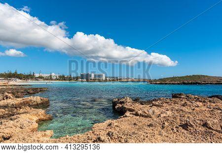 Ayia Napa, Cyprus, February 14 2021: Empty Idyllic Famous Touristic Coast Of Nissi Beach In Agia Nap