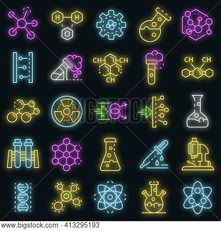 Chemistry Lab Icon Set. Outline Set Of Chemistry Lab Vector Icons Neon Color On Black