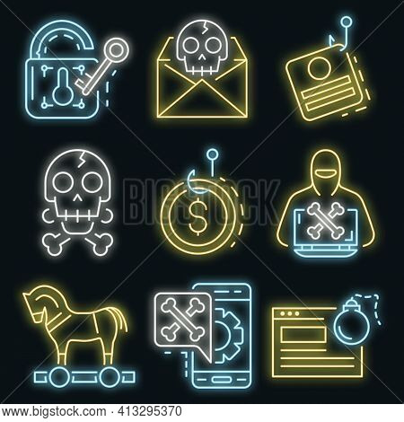Phishing Icon Set. Outline Set Of Phishing Vector Icons Neon Color On Black