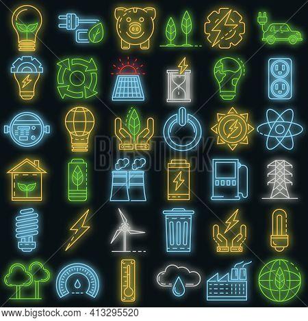 Energy Saving Icon Set. Outline Set Of Energy Saving Vector Icons Neon Color On Black