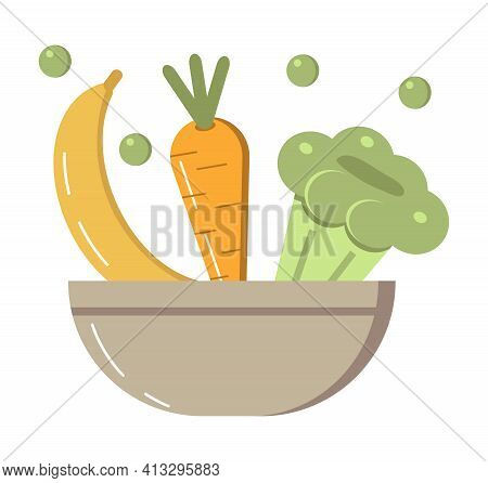 Vegetarian Salad Bowl Icon Vector In Flat Style. Carrot, Banana, Cauliflower Falling Down In Bowl.