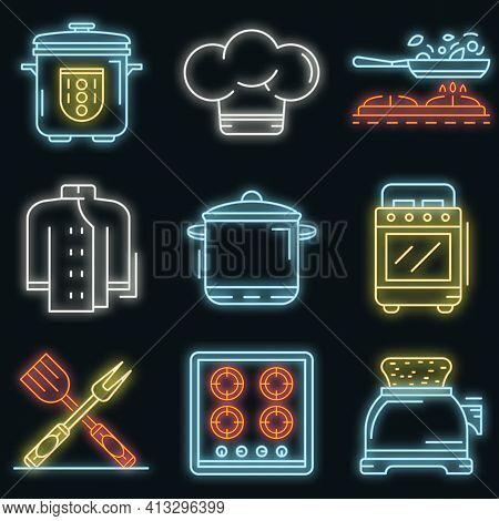 Cooker Icon Set. Outline Set Of Cooker Vector Icons Neon Color On Black