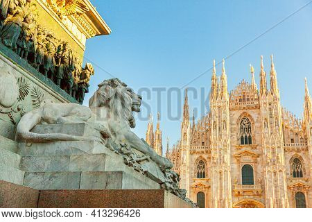 Lion Marble Statue Near Famous Church Milan Cathedral Duomo Di Milano. Panoramic View Of Top Tourist