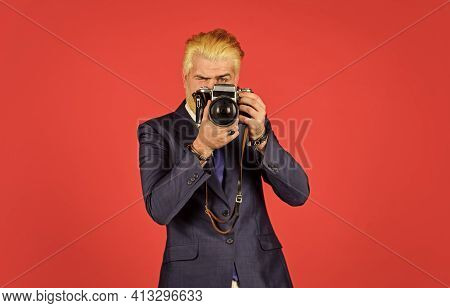 Connoisseur Of Vintage Values. Classy And Old School. Content Creator. Man Bearded Hipster Photograp