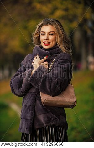 Fur Admirer. Sexy Woman Red Lips Wear Fur Coat. Businesswoman In Fur Coat. Glamorous Lady. Cosy Autu