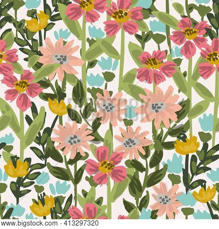 Wild Meadow - Dense Floral Garden Seamless Vector Pattern. A Dense Meadow Of Wildflowers In Pink, Bl