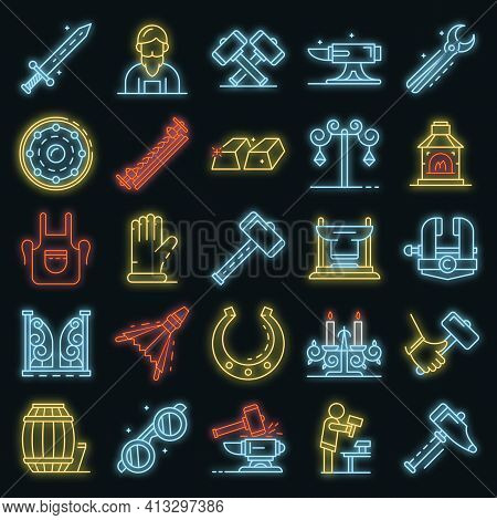 Anvil Icon Set. Outline Set Of Anvil Vector Icons Neon Color On Black