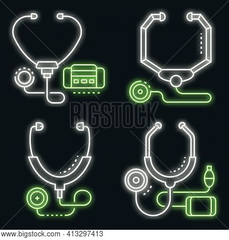 Stethoscope Icon Set. Outline Set Of Stethoscope Vector Icons Neon Color On Black