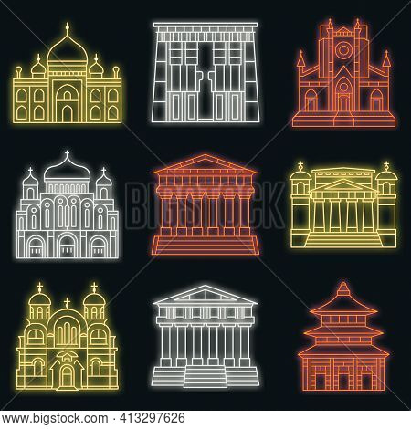 Temple Icon Set. Outline Set Of Temple Vector Icons Neon Color On Black