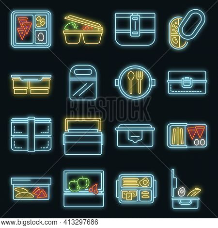 Lunchbox Icon Set. Outline Set Of Lunchbox Vector Icons Neon Color On Black