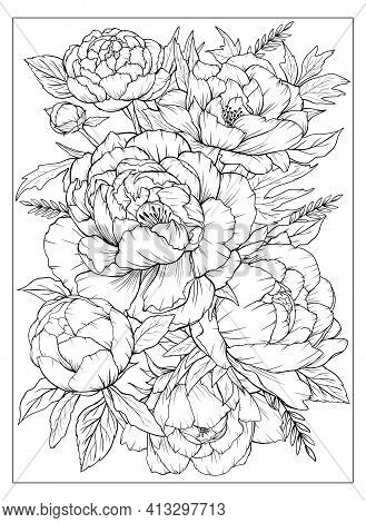 Coloring Page With Peonies And Leaves. Vector Page For Coloring. Flower Colouring Page. Floral Print
