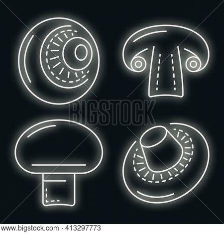 Champignon Icon Set. Outline Set Of Champignon Vector Icons Neon Color On Black
