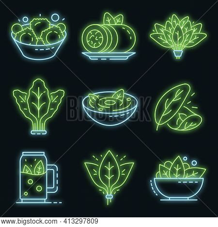 Spinach Icon Set. Outline Set Of Spinach Vector Icons Neon Color On Black