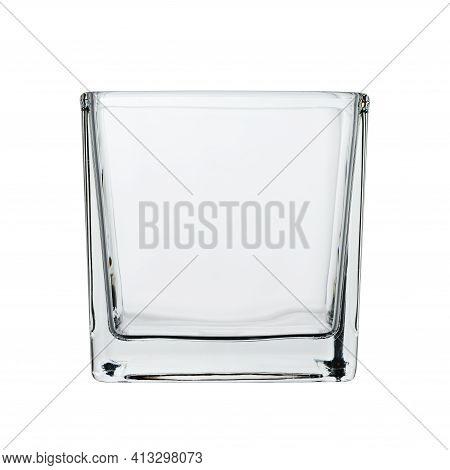 Rectangular Decorative Vase Glass. Empty, Close-up On A White Background.