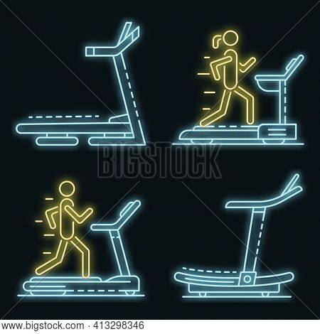 Treadmill Icon Set. Outline Set Of Treadmill Vector Icons Neon Color On Black