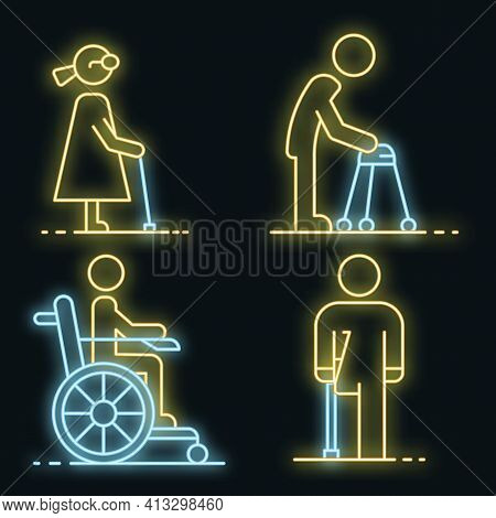 Invalid People Icon Set. Outline Set Of Invalid People Vector Icons Neon Color On Black
