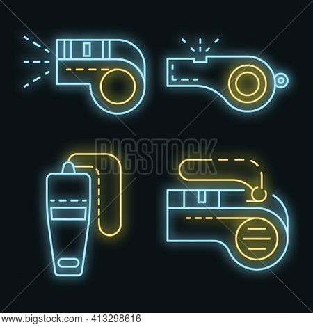 Whistle Icon Set. Outline Set Of Whistle Vector Icons Neon Color On Black
