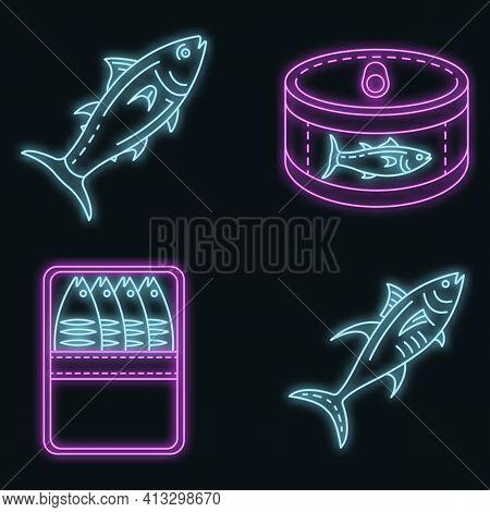 Tuna Icon Set. Outline Set Of Tuna Vector Icons Neon Color On Black