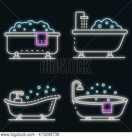 Bathtub Icon Set. Outline Set Of Bathtub Vector Icons Neon Color On Black