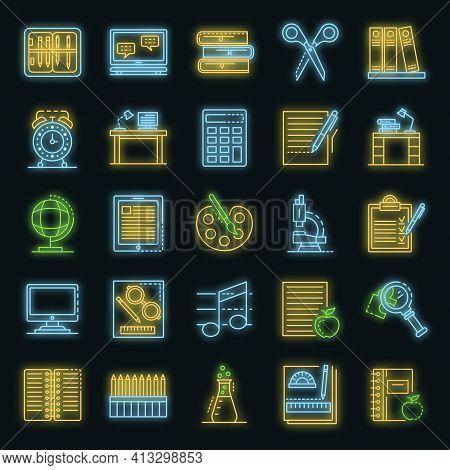 Homework Icon Set. Outline Set Of Homework Vector Icons Neon Color On Black