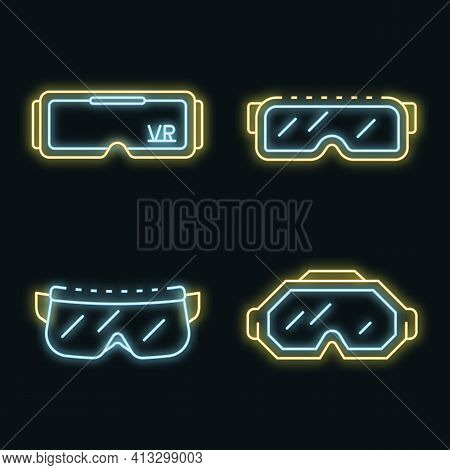 Goggles Icon Set. Outline Set Of Goggles Vector Icons Neon Color On Black