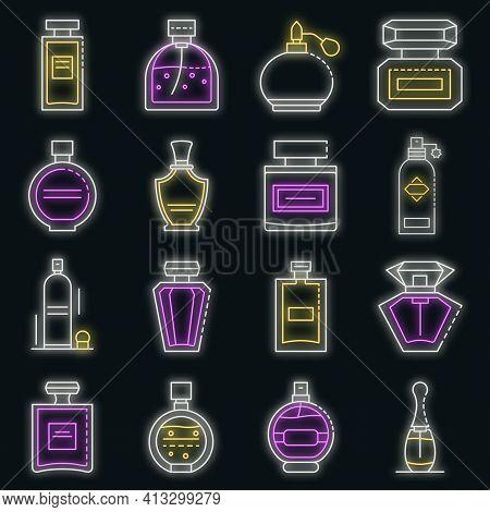 Fragrance Bottles Icons Set. Outline Set Of Fragrance Bottles Vector Icons Neon Color On Black
