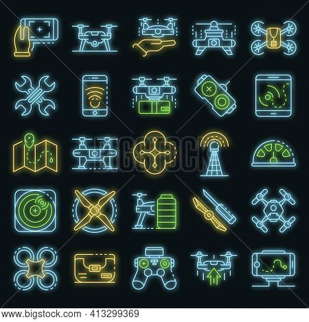 Drone Icon Set. Outline Set Of Drone Vector Icons Neon Color On Black