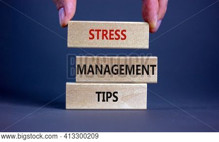 Stress Management Tips Symbol. Wooden Blocks With Words 'stress Management Tips'. Beautiful Grey Bac