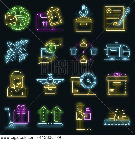Parcel Delivery Icons Set. Outline Set Of Parcel Delivery Vector Icons Neon Color On Black