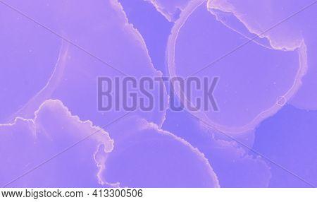 Graphic Flow Background. Blue Contemporary Modern Banner. Light Oil Design. Violet Graphic Paint Tem