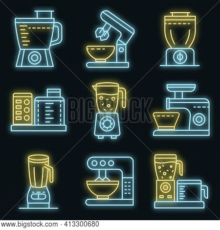 Food Processor Icons Set. Outline Set Of Food Processor Vector Icons Neon Color On Black