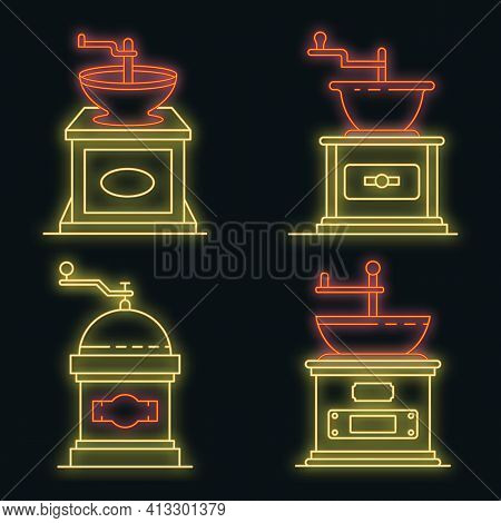Coffee Grinder Icons Set. Outline Set Of Coffee Grinder Vector Icons Neon Color On Black