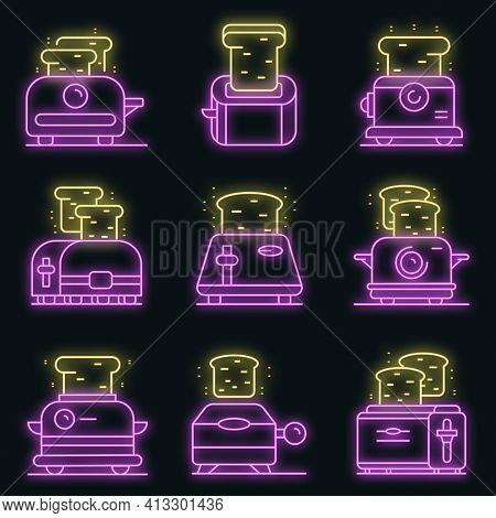 Toaster Icons Set. Outline Set Of Toaster Vector Icons Neon Color On Black