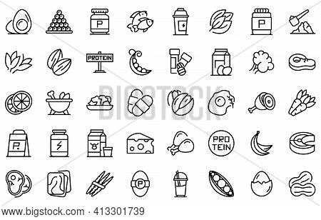 Protein Nutrient Icon. Outline Protein Nutrient Vector Icon For Web Design Isolated On White Backgro
