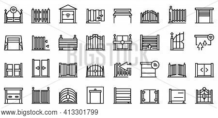 Automatic Gate Icon. Outline Automatic Gate Vector Icon For Web Design Isolated On White Background