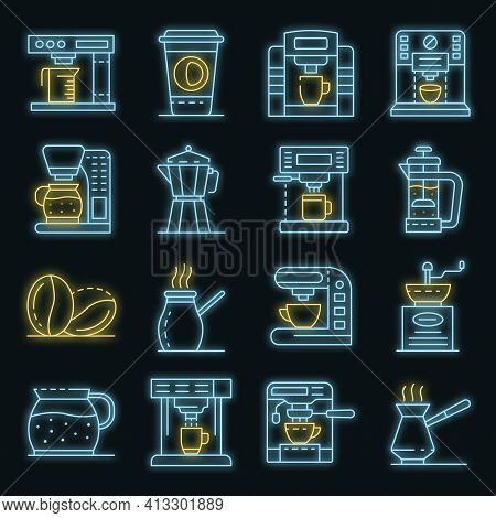 Coffee Maker Icons Set. Outline Set Of Coffee Maker Vector Icons Neon Color On Black