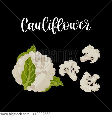 Fresh Cauliflower Head And Inflorescence. Healthy Nutrition Product.
