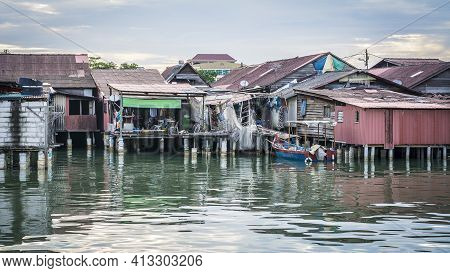 Sunrise At The Floating Village Of Georgetown In Malaysia