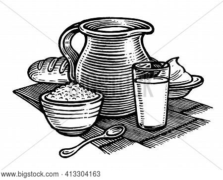 Milk And Dairy Products, Vector Illustration. Vintage Graphics And Handwork. The Ra Jug Of Milk, A G