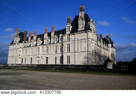 Ecouen, France - February 20 2021 : Historical Chateau In City Of Ecouen, North Of Paris, France