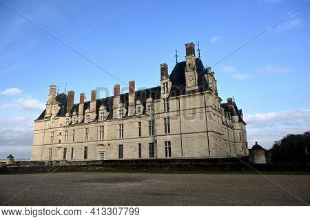 Historical Chateau In City Of Ecouen, North Ofecouen, France - February 20 2021 : Historical Chateau